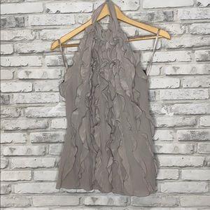 BCBG MaxAzria Silk Ruffle Halter Blouse